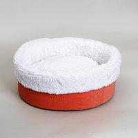 Лежанка 'Манго' круглая, мебельная ткань/мех , 43 х 43 х 16 см