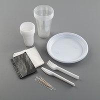 Набор одноразовой посуды 'Шашлычный 1', 6 персон, цвет белый, чёрный