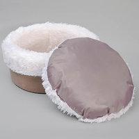 Лежанка круглая, мебельная ткань/мех, микс серо-коричневый 37 х 37 х 16 см