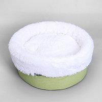Лежанка 'Фисташка' круглая, мебельная ткань/мех, 37 х 37 х 16 см
