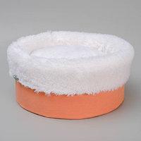 Лежанка 'Манго' круглая, мебельная ткань/мех, 37 х 37 х 16 см