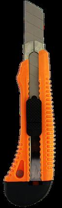 Нож с выдвижным лезвием 18 мм, пластиковый корпус, металлическая направляющая, Вихрь, фото 2