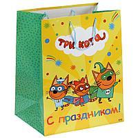 """Подарочный пакет Бумажный """"Три кота. С праздником!"""", 33х46х20 см. CLRBG-TKO2-03"""