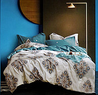 Комплект постельного белья двуспальный из хлопка с крупным купоном