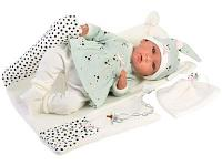 Кукла LLORENS Пупс в бирюзовом костюме с одеялом 74054 40 см