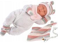 Кукла LLORENS Пупс в полосатой шапочке, с переноской 74058 42 см