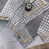 Комплект постельного белья двуспальный из вельвета с принтом гусиная лапка