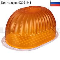 """Хлебница для хранения хлебобулочных изделий """"Дар"""" пластиковая прозрачная крышка (оранжевая)"""