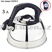 Чайник для кипячения воды со свистком из нержавеющей стали с температурным термометром 3 л Topfann A-757