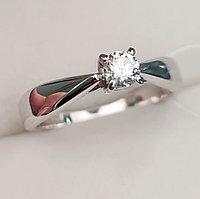 Золотое кольцо с бриллиантом 0,20Сt VS1/G Ex-Cut, фото 1