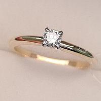 Золотое кольцо с бриллиантами 0.16Сt SI1/I, фото 1