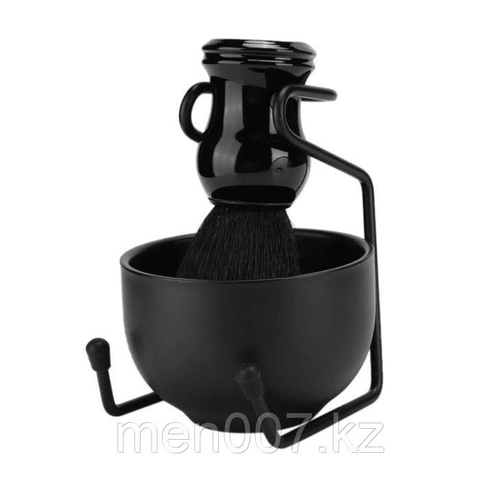 Набор для бритья 3 в 1 Total Black (подставка, чаша и помазок из синтетической щетины)
