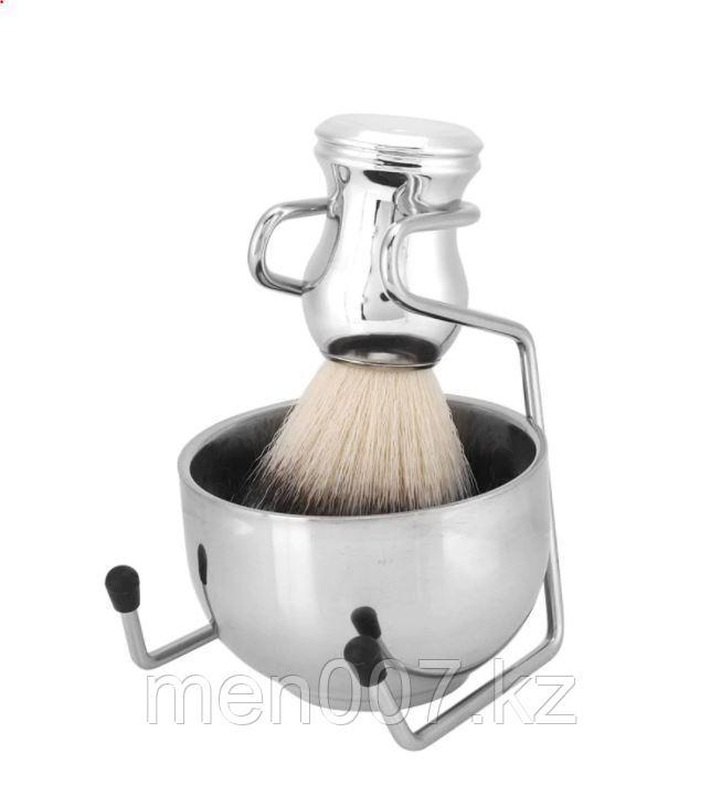 Набор для бритья 3 в 1 Metallic (подставка, чаша и помазок из синтетической щетины)