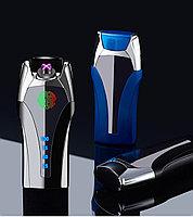 Электроимпульсная зажигалка с отпечатком пальца. Фирма LIGHTER в подарочной коробке. Синяя.