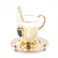 """Кофейная пара из фарфора """"Агат"""" 170 мл чашка на блюдце с ложкой в подарочной коробке Златоуст"""