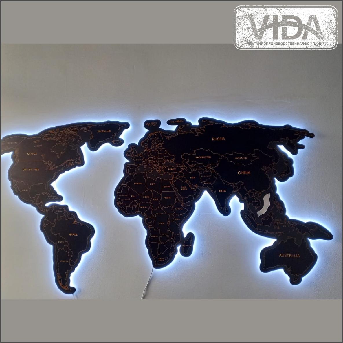Карта мира из ПВХ с подсветкой