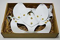 Набор из кожаных изделий белый (маска, браслет, чокер)