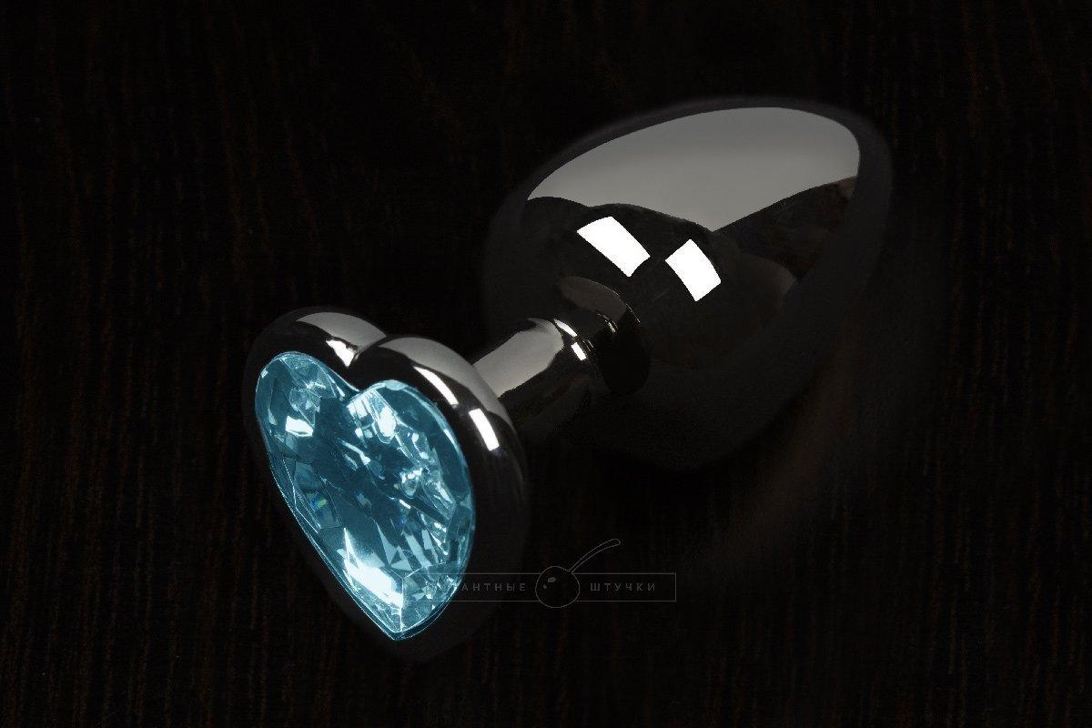 Анальная пробка маленькая с кристаллом в виде сердечка (голубой, 6 см)