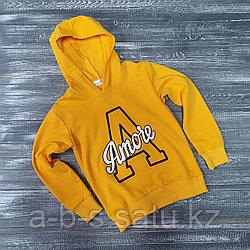 Свитшот для детей (с капюшоном  желтый Amore)