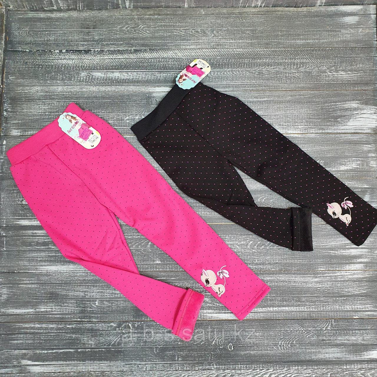 Лосины черные в розовый горошек с кошечкой