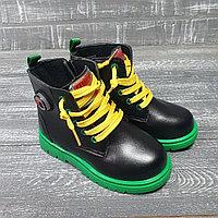 Ботинки для девочек (черные с зеленой подошвой)