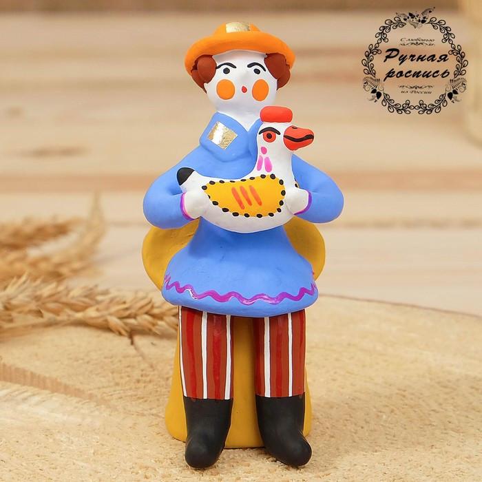 """Дымковская игрушка """"Мужик сидячий с петухом"""", 11 см, микс"""