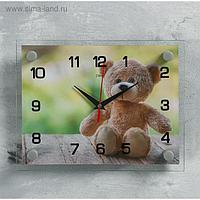 """Часы настенные, серия: Животный мир, """"Мишка"""", 20х26 см микс"""