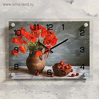 """Часы настенные, серия: Цветы, """"Клубника и маки"""", 25х35 см микс"""