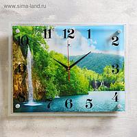 """Часы настенные, серия: Природа, """"Озеро и водопад"""", 35х45 см"""