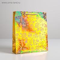 Пакет голографический вертикальный «Сладости», M 26 x 30 × 9 см