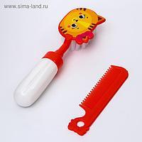 Набор расчёсок «Мяу», 2 предмета: расчёска с зубчиками + щётка