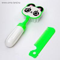 Набор расчёсок «Панда», 2 предмета: расчёска с зубчиками + щётка