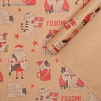 Бумага упаковочная крафтовая «Влюбленные котики», 50 × 70 см