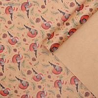 Бумага упаковочная крафтовая «Снегири», 50 × 70 см