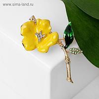"""Брошь """"Цветок"""", цвет жёлто-зелёный в золоте"""