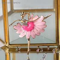 """Брошь """"Балерина"""" ромашка, цвет бело-розовый в золоте"""