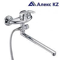 Смеситель ZEGOR NHK6-B048 одноручный для ванны с поворотным плоским изливом 350 мм