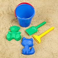 Наборы для игры в песке 107 ведро, грабли, совок, 2 формочки