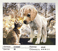 "Картина по номерам "" Котенок и щенок "" 50*40см"