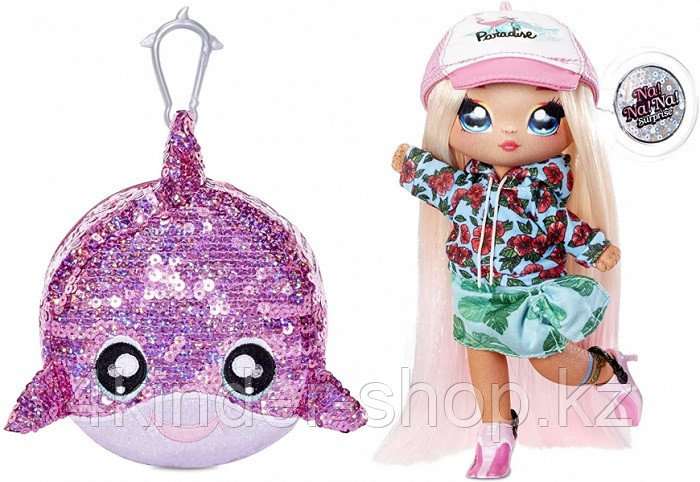 NA! Na! Na! Surprise - мягкие куклы с животным-помпоном-сумочкой Surfer Krysta Splash от MGA - фото 1
