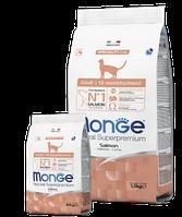 6298 Monge Сat salmon, Сухой монопротеиновый корм для взрослых кошек с лососем, уп.10 кг.