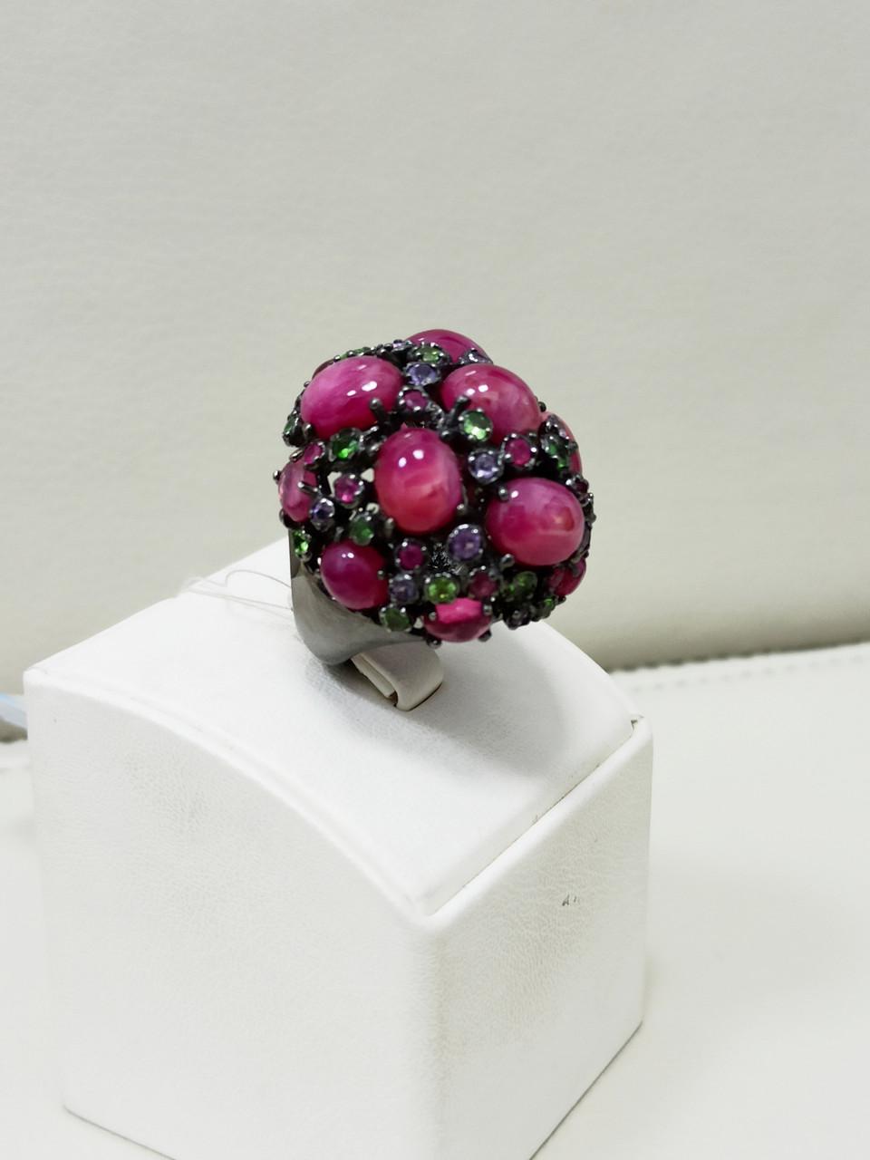 Кольцо / размер 17 / аметист, рубин, рубеллит, цитрин - фото 2