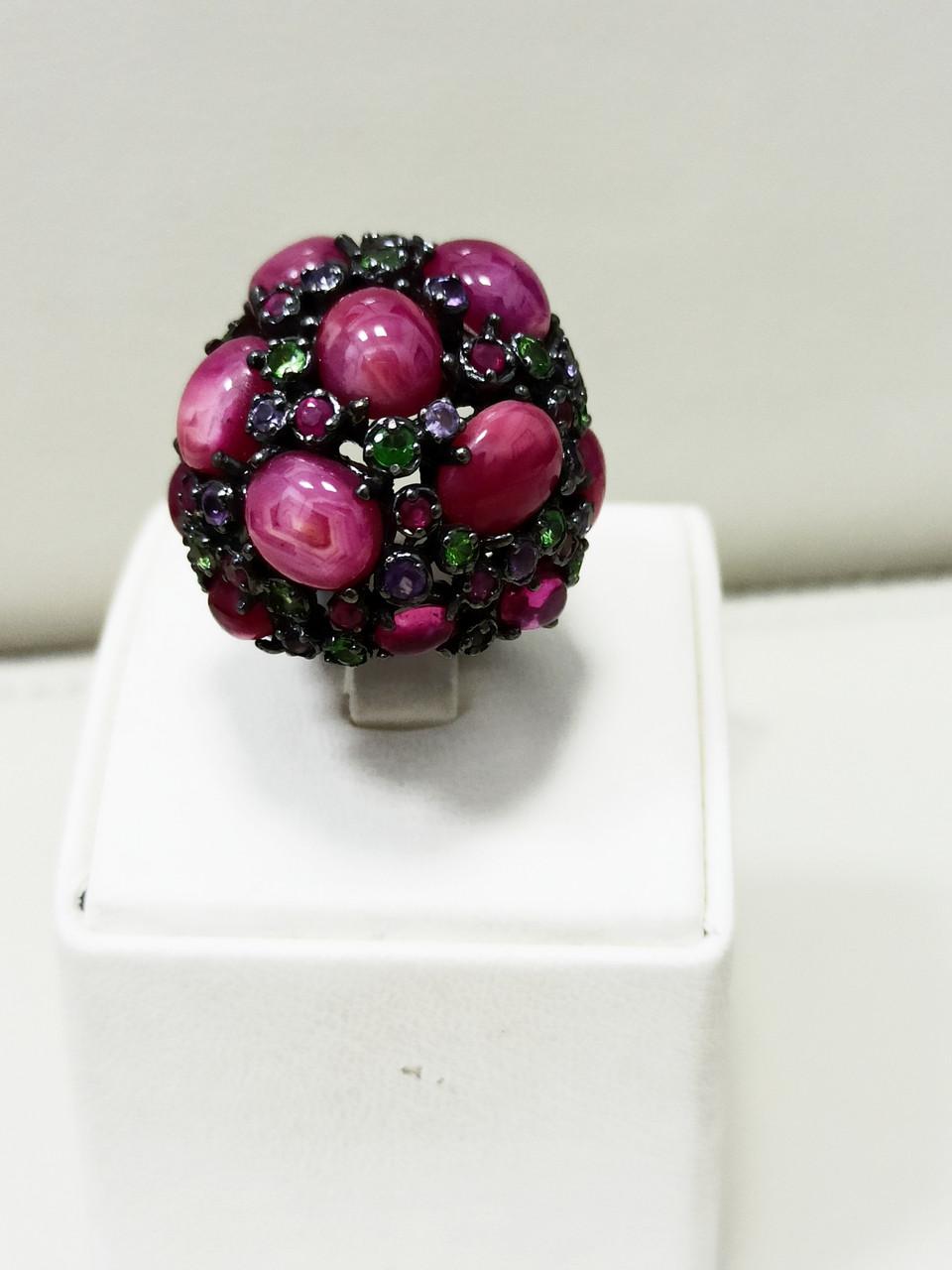 Кольцо / размер 17 / аметист, рубин, рубеллит, цитрин - фото 1