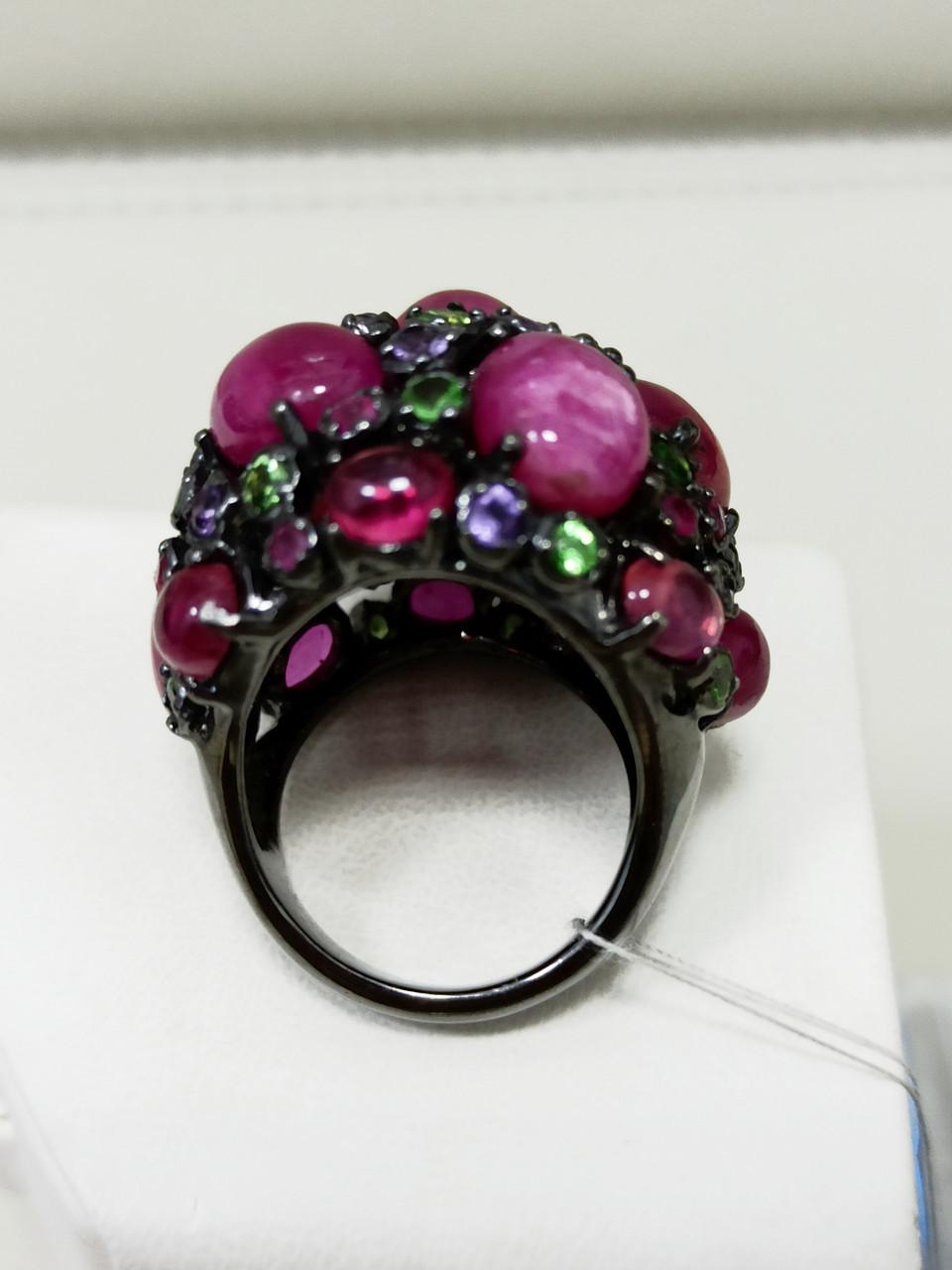 Кольцо / размер 17 / аметист, рубин, рубеллит, цитрин - фото 3
