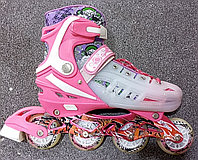 Роликовые коньки раздвижные размеры 34-39 цвета розовый, голубой