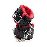 Красно-черные мягкие наручники, фото 2