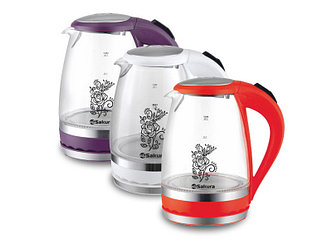 Чайник электр SAKURA SA-2712BK (1,6) стекл подсв.