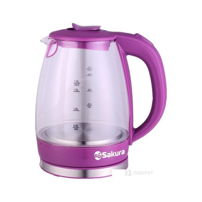 Чайник электр SAKURA SA-2717V (1,7) стекло подсв. ягодн коктейль