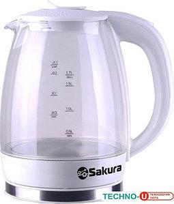 Чайник электр SAKURA SA-2717W (1,7) стекл  подсв. белый