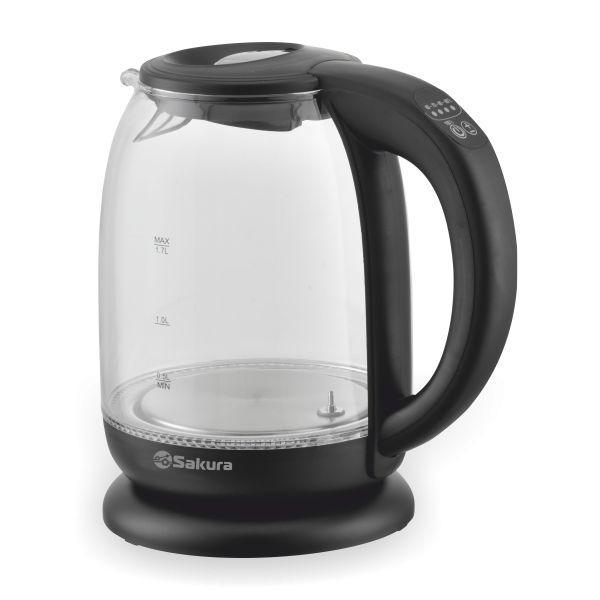 Чайник электр SAKURA SA-2718DBK (1.7) стекл 5темп реж